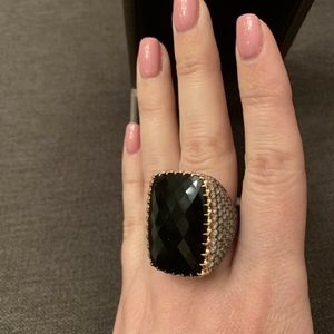 CRIVELLI 18K ROSE GOLD DIAMOND AND ONYX RING 58658